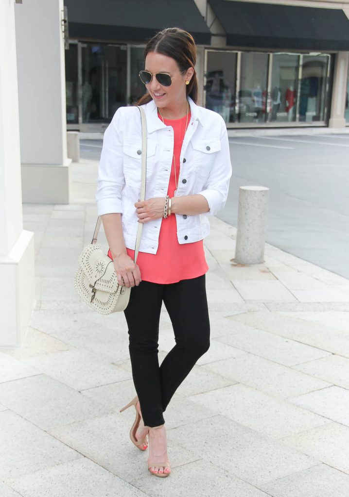 Casual Spring Outfit | White Denim Jacket | Pink Blouse | Black Skinny Jeans | Lady in Violet | Houston Fashion Blogger