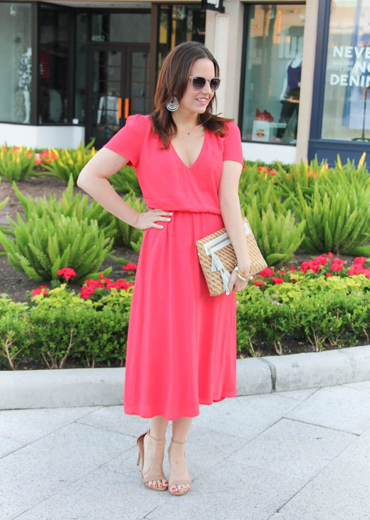 Bridal Shower Outfit | Coral Midi Dress | Straw Clutch | Sandals | Summer Outfit | Lady in Violet | Houston Fashion Blogger