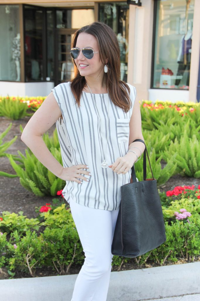 Summer Outfit | Oneill Striped Top | Nordstrom Outfit | White Jeans | Lady in Violet | Houston Style Blogger