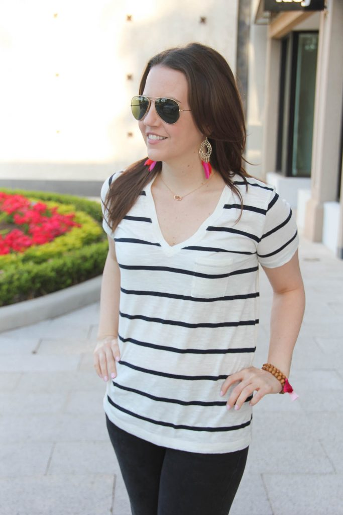 Affordable striped vneck tee with feather earrings from Lady in Violet style blog.