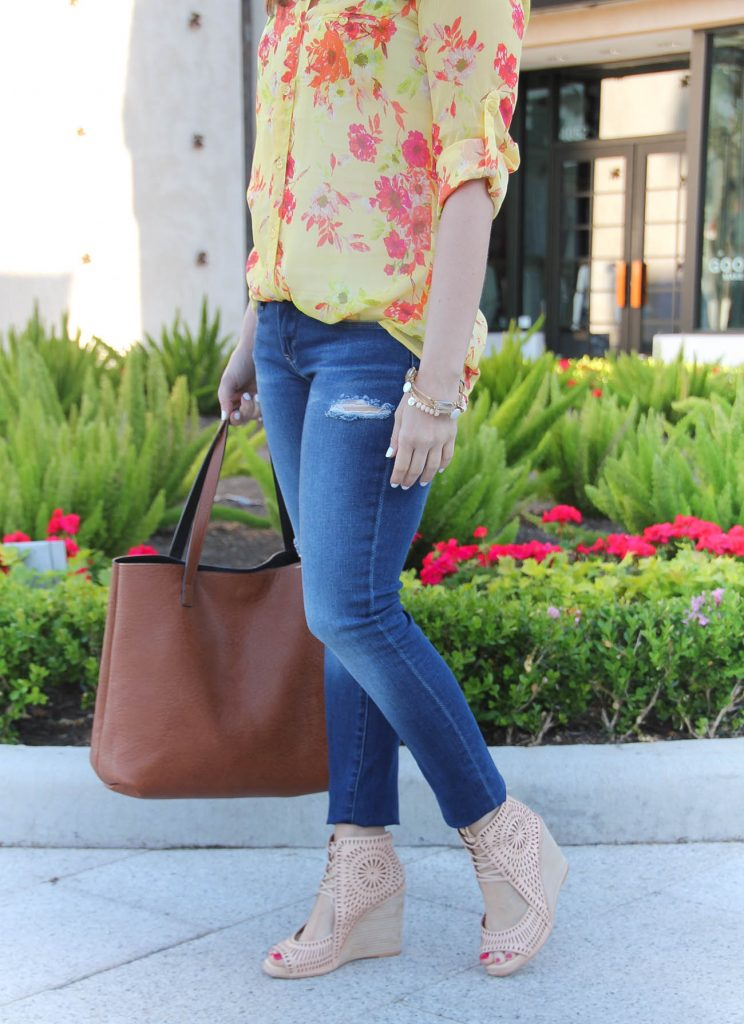 Casual Outfit | Distressed Jeans | Yellow Top | Lace Up Wedge Sandals | Lady in Violet | Houston Style Blogger