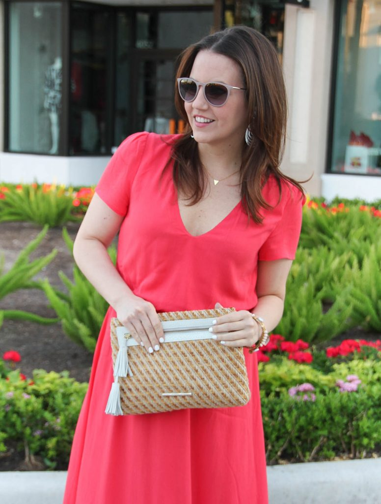 Spring Outfit | Coral Midi Dress | Straw Clutch | White Earrings | Lady in Violet | Houston Style Blogger