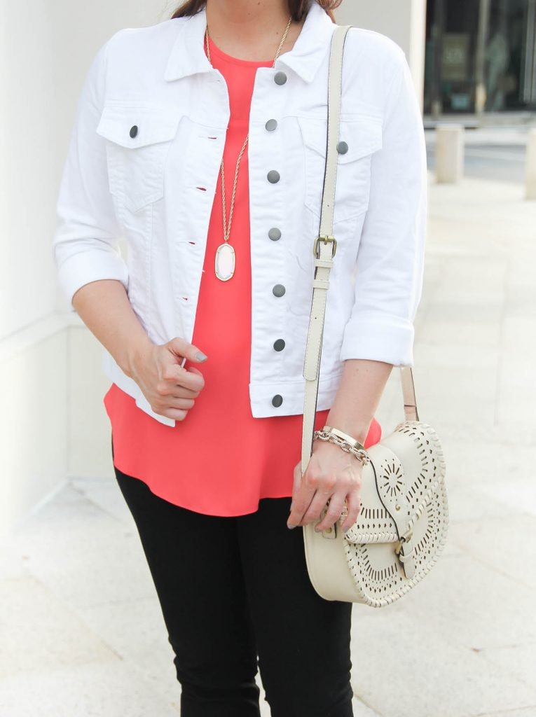White Denim Jacket under $100 | Kendra Scott Rae Necklace | Lady in Violet | Houston Style Blogger
