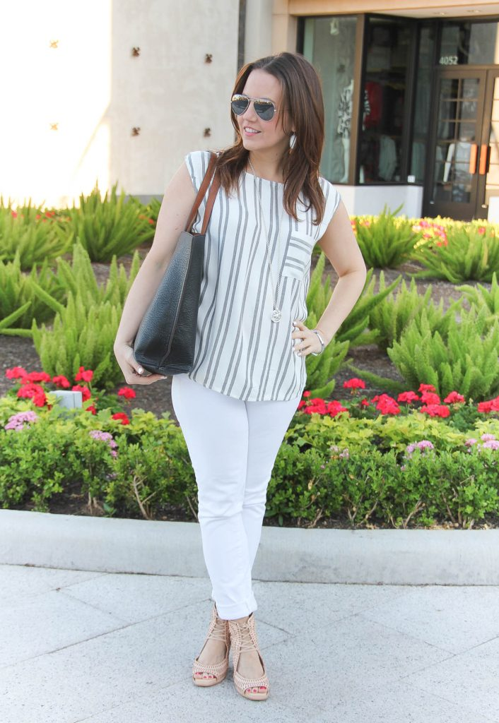 Spring Casual Outfit | Striped Sleeveless Top | White Skinny Jeans | Wedge Sandals | Lady in Violet | Houston Style Blogger