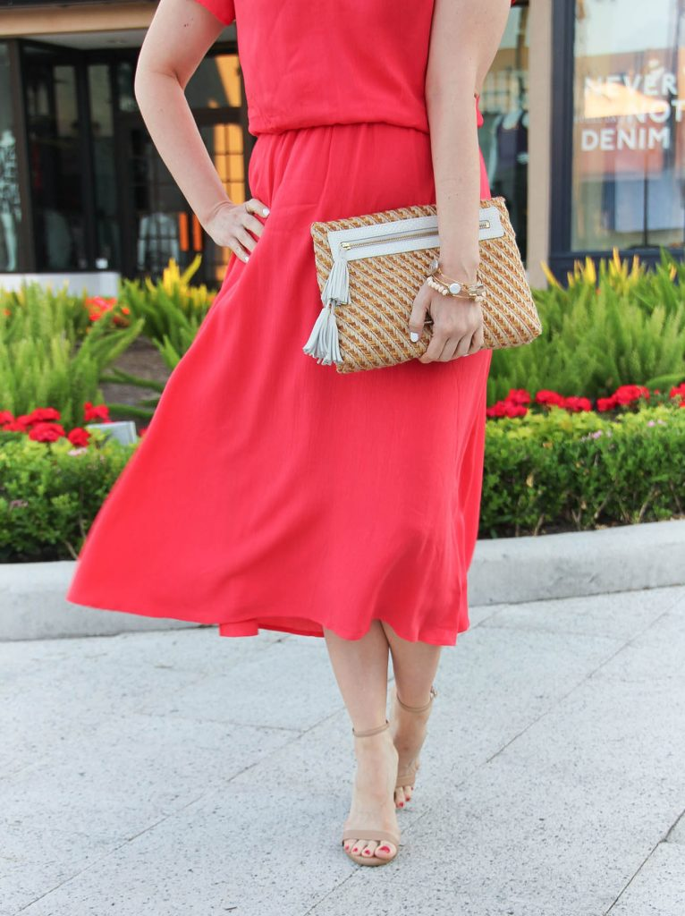Spring Wedding Outfit | Coral Midi Dress | Stecy Sandals | Straw Clutch | Lady in Violet | Houston Fashion Blogger