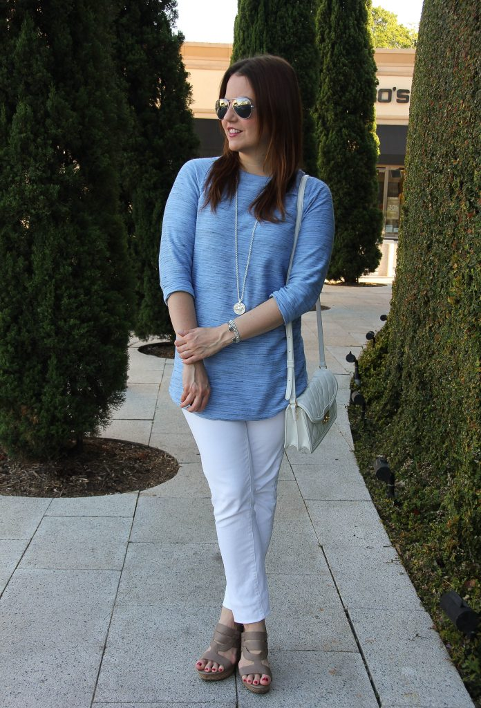 Spring Outfit | Baby Blue Tunic | White Jeans | Taupe Wedges | Lady in Violet | Houston Fashion Blogger