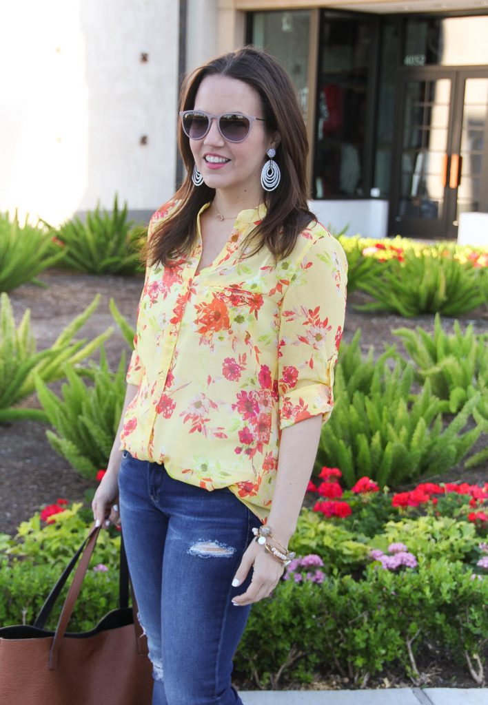 Spring Outfit | Yellow Floral Blouse | Distressed Jeans | White Statement Earrings | Casual Outfit | Lady in Violet | Houston Fashion Blogger