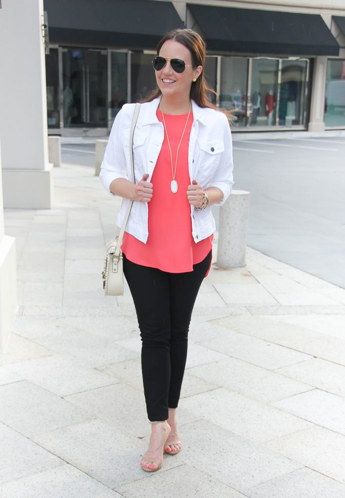Casual Summer Outfit | White Denim Jacket | Coral Sleeveless Blouse | Black Skinny Jeans | Lady in Violet | Houston Fashion Blogger