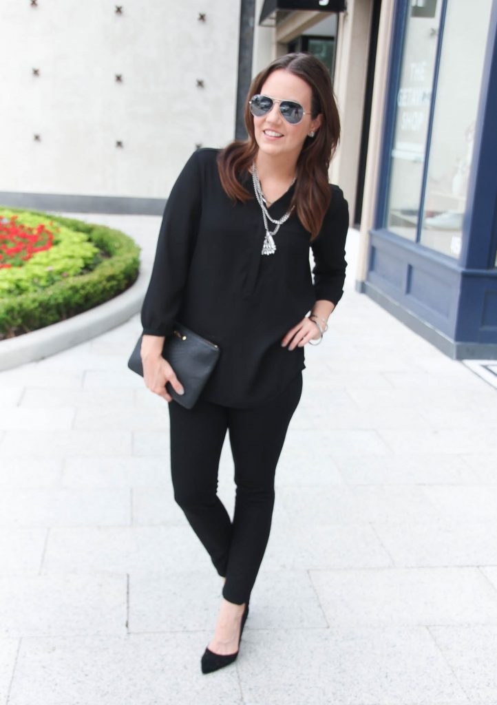 Date Night Outfit | Black Blouse | Black Skinny Jeans | D'Orsay Heels | Silver Chain Statement Necklace | Lady in Violet | Houston Fashion Blogger