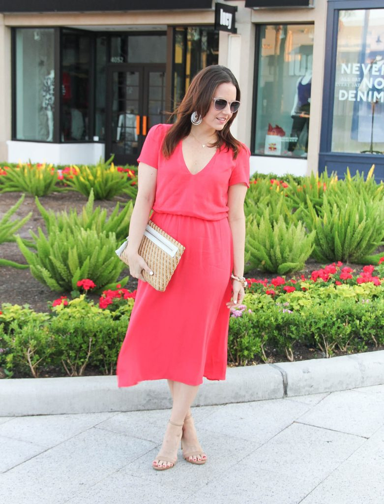 Spring Outfit | Midi Dress | Straw Clutch | Nude Spring Sandals | Lady in Violet | Houston Fashion Blogger