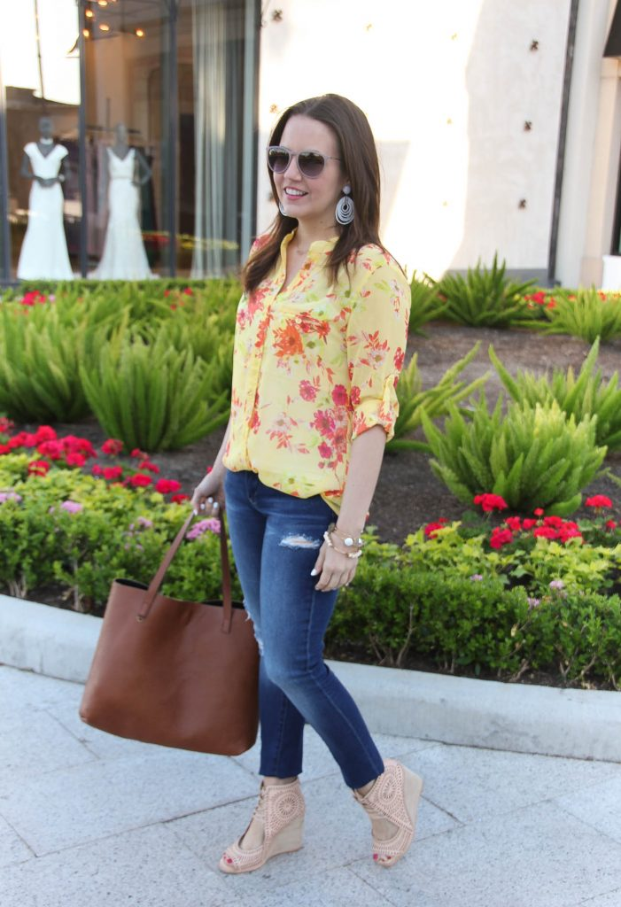 Spring Outfit | Yellow Floral Top | Distressed Jeans | Lace up wedges | Casual Outfit | Lady in Violet | Houston Style Blogger