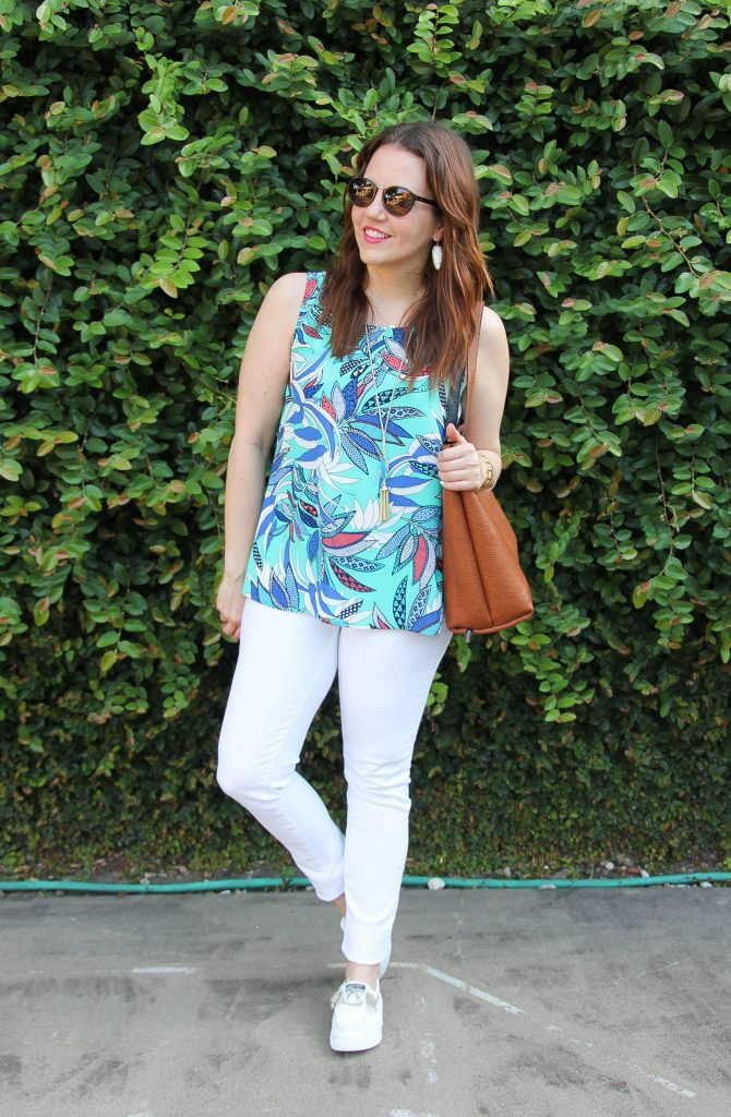 Summer Outfit | Floral Tank Top | White Sneakers | White Denim | Lady in Violet | Houston Style Blogger