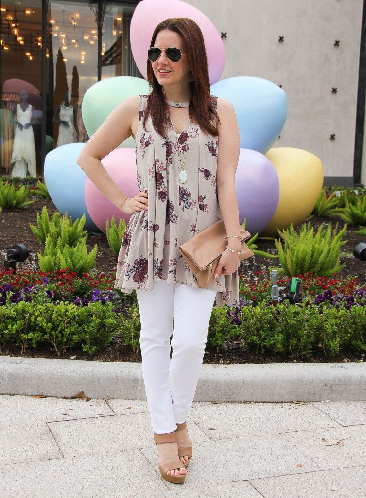 Summer Outfit | Floral Free People Tunic | White Jeans | Wedges | Lady in Violet | Houston Fashion Blogger