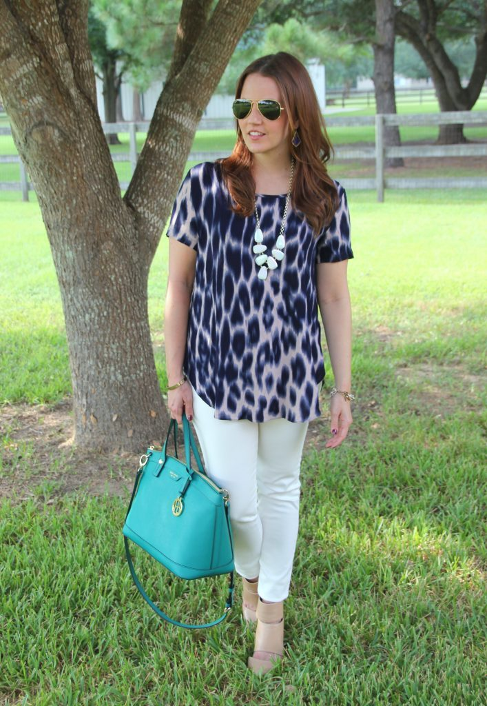 Spring Outfit | Animal Print Top | White Skinny Jeans | Green Satchel | Lady in Violet | Houston Style Blogger