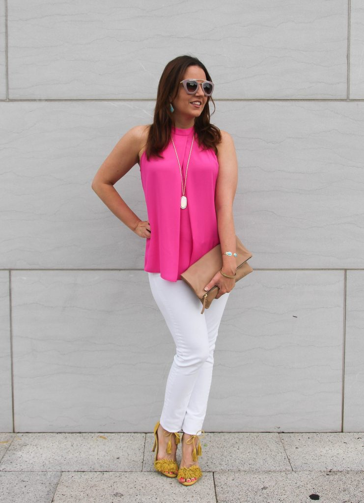 Summer Outfit | Pink Halter Top | White Jeans | Yellow Fringe Heels | Lady in Violet | Houston Fashion Blogger