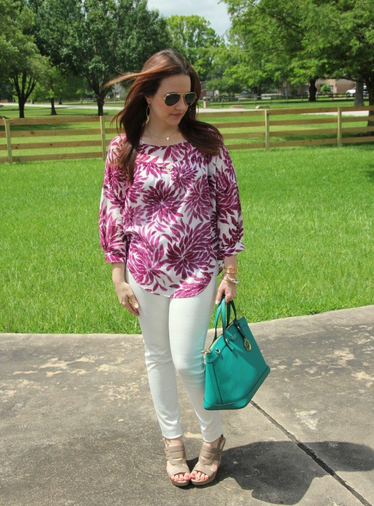 Spring Outfit | Pink Floral Blouse | White Jeans | Green Satchel Purse | Lady in Violet | Houston Style Blogger