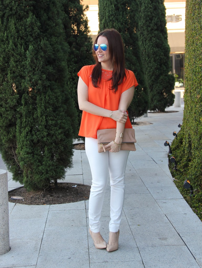 Spring Outfit | White Jeans | Orange Flutter Sleeve Blouse | Lady in Violet | Houston Style Blogger