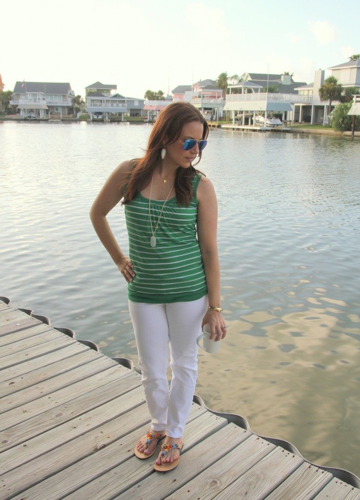 Summer Vacation Outfit | Green Striped Tank Top | White Jeans | Colorful Sandals | Lady in Violet | Houston Blogger