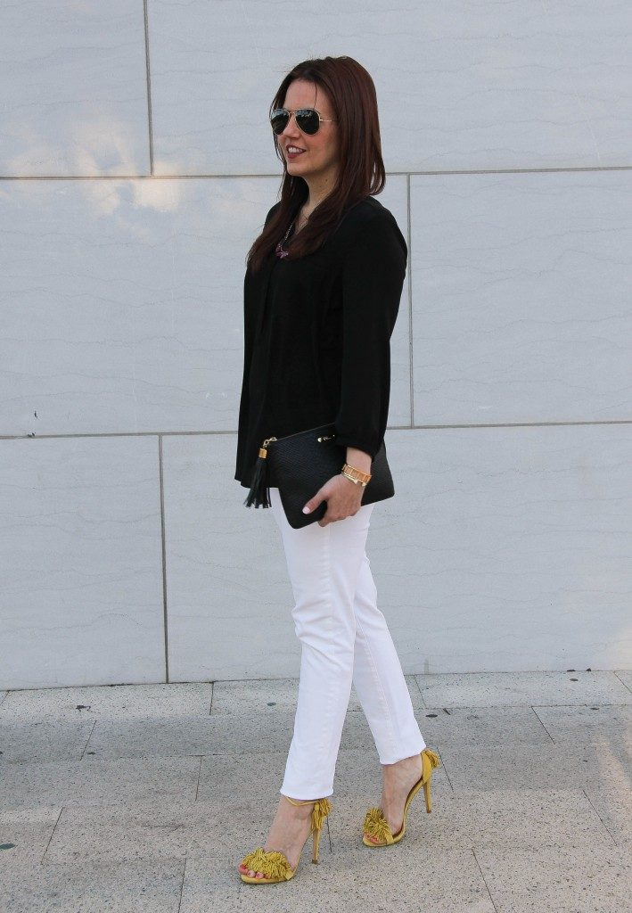 Outfit Idea | Black Blouse | White Jeans | Yellow Fringe Heels | Lady in Violet | Houston Style Blogger