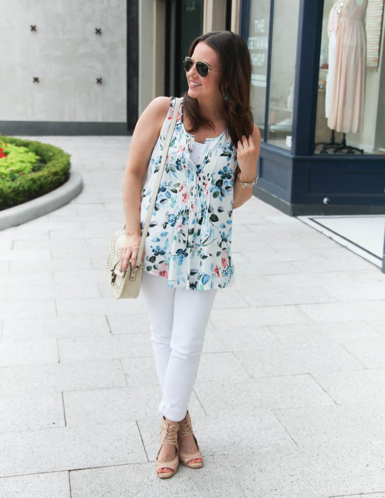 Alternative to a white on white outfit | Spring Floral Print Top | Lady in Violet | Houston Fashion Blogger
