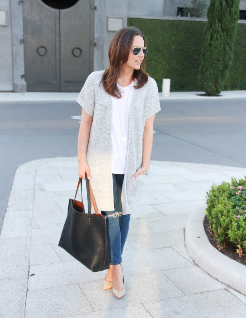 Casual Spring Outfit | Long Gray Cardigan | Distressed Jeans | Lady in Violet | Houston Fashion Blogger