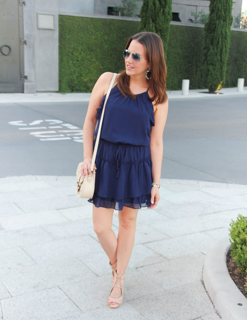 Summer Outfit | Navy Dress | Lace Up Wedges | Lady in Violet | Houston Fashion Blogger