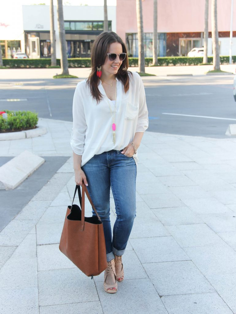 Summer Outfit | Wardrobe Basics | White Tunic | Blue Jeans | Lady in Violet | Houston Fashion Blogger