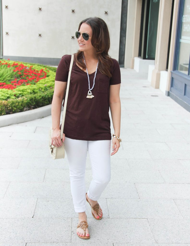 Summer Vacation Outfit | Vneck Tee | White Jeans | Tory Burch Sandals | Lady in Violet | Houston Style Blogger