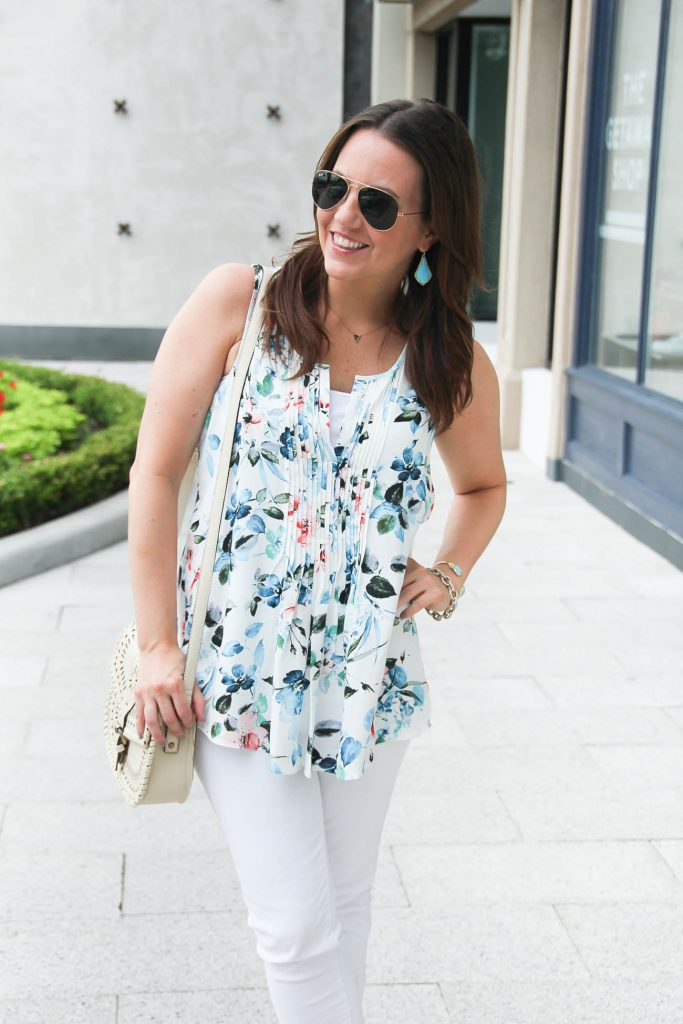 Blue and White Floral Blouse for summer | White Jeans | Casual Outfit | Lady in Violet | Houston Style Blogger
