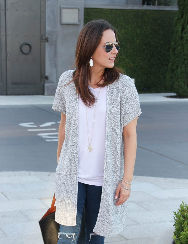 Gray Short Sleeve Cardigan | White VNeck Tee | Long Silver Necklace | Lady in Violet | Houston Style Blogger