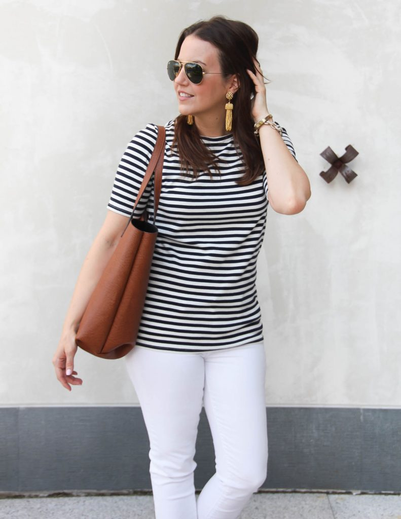 Spring Outfit | Jcrew Perfect Fit Tee | Brown Tote Bag | Lady in Violet | Houston Style Blogger