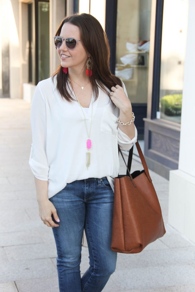 Spring Outfit | White Tunic | Kendra Scott Rayne Necklace | Brown Tote Bag | Lady in Violet | Houston Style Blogger