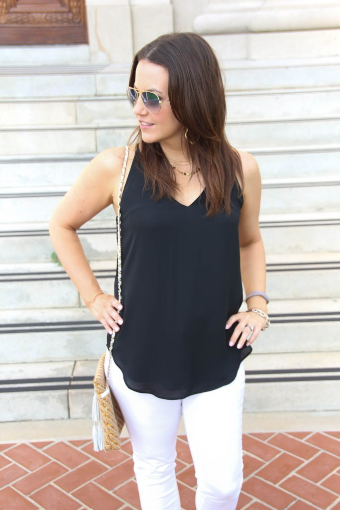 Vacation outfit | basic black cami | Gold Choker Necklace | Lady in Violet | Houston Style Blogger