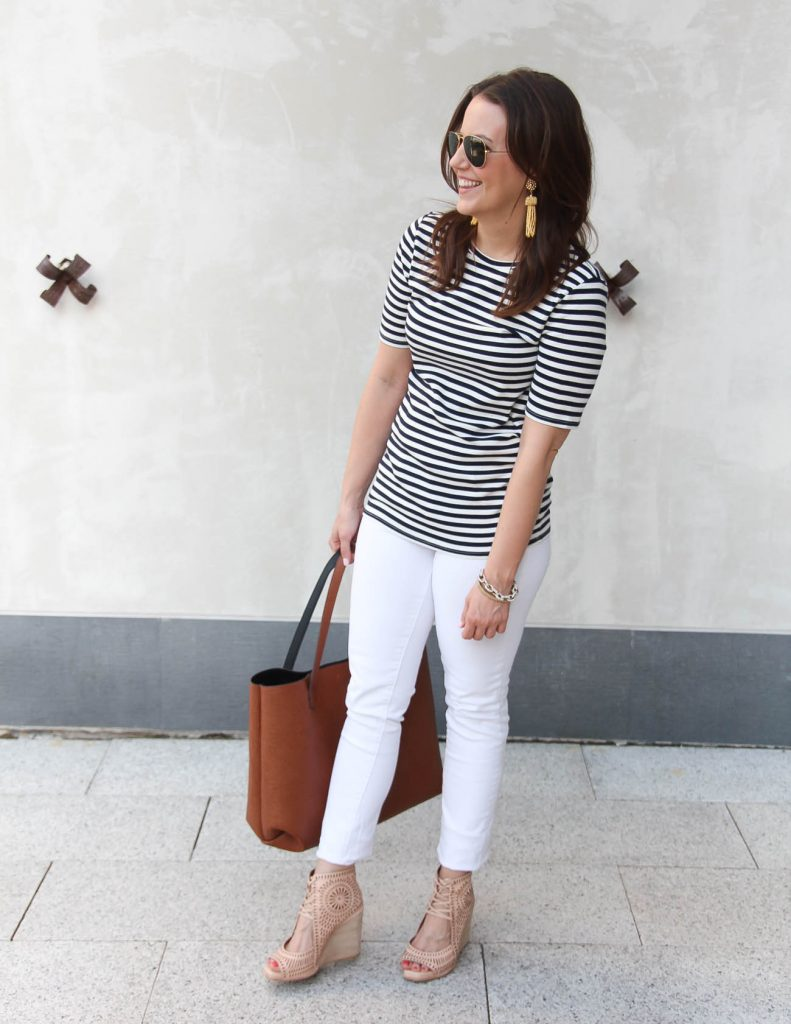4th of July Outfit Idea | Striped Tee | White Skinny Jeans | Lady in Violet | Houston Fashion Blogger