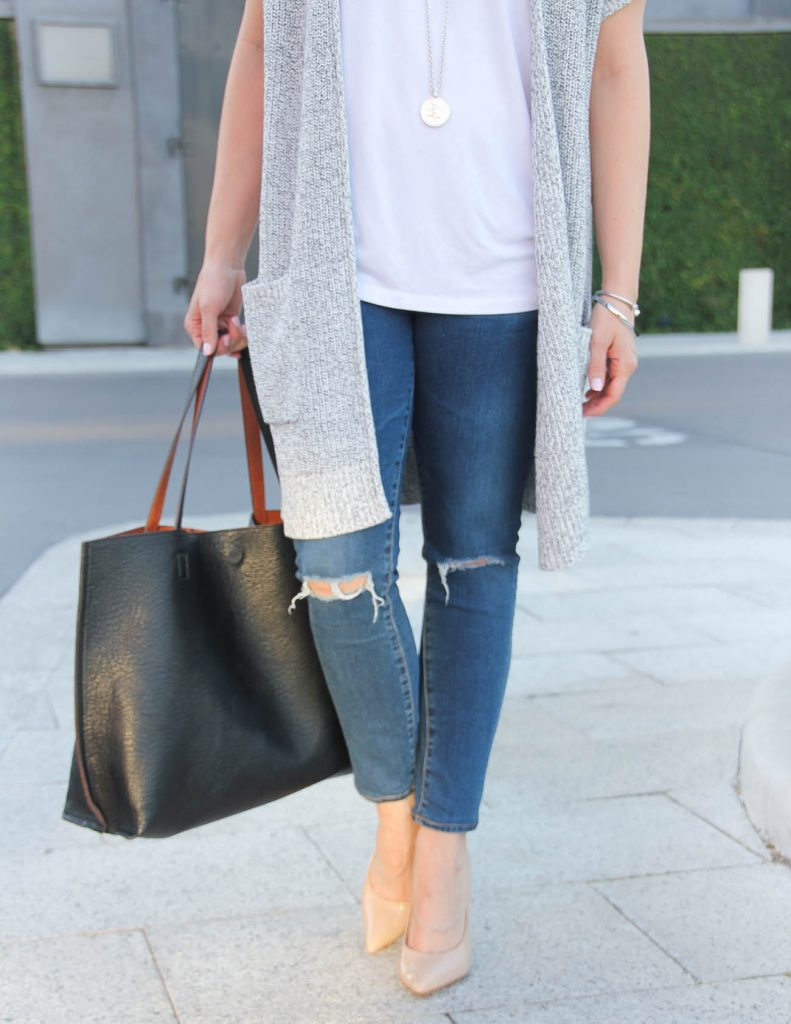 Distressed Jeans | Nude Heels | Black Tote Bag | Lady in Violet | Houston Fashion Blogger