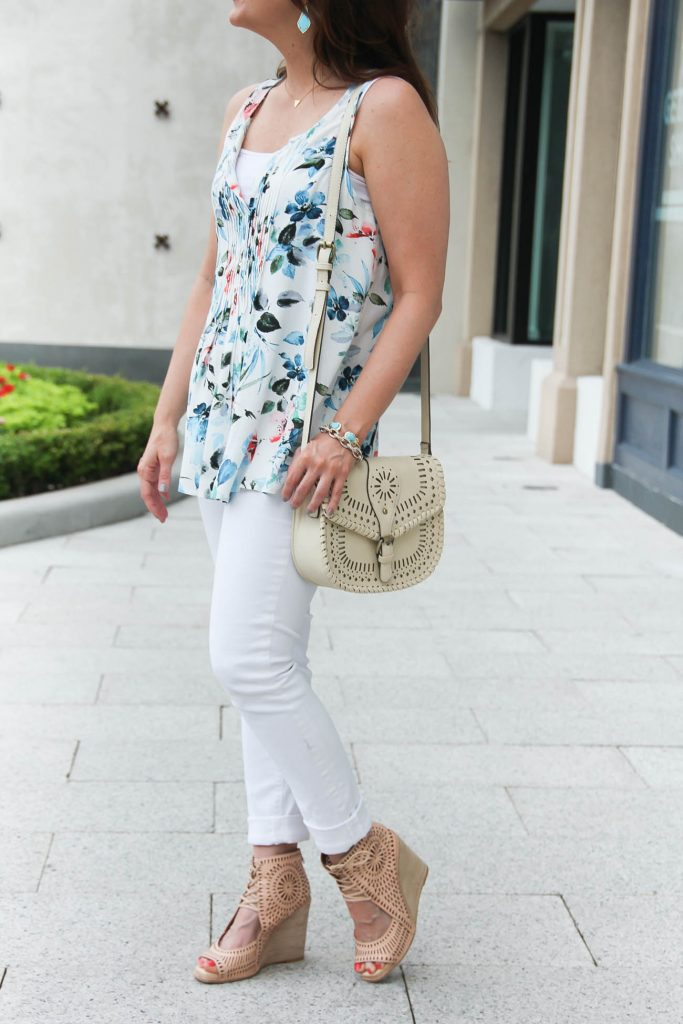 Summer Outfit | Blue Floral Blouse | White Jeans | Lace Up Wedge Sandals | Lady in Violet | Houston Fashion Blogger