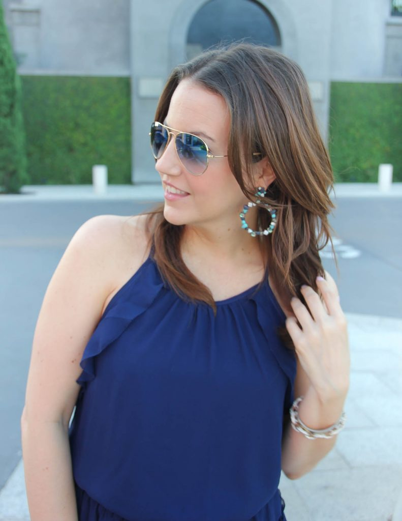 Summer Party Outfit | Navy Dress | Turquoise Stone Earrings | Lady in Violet | Houston Fashion Blogger