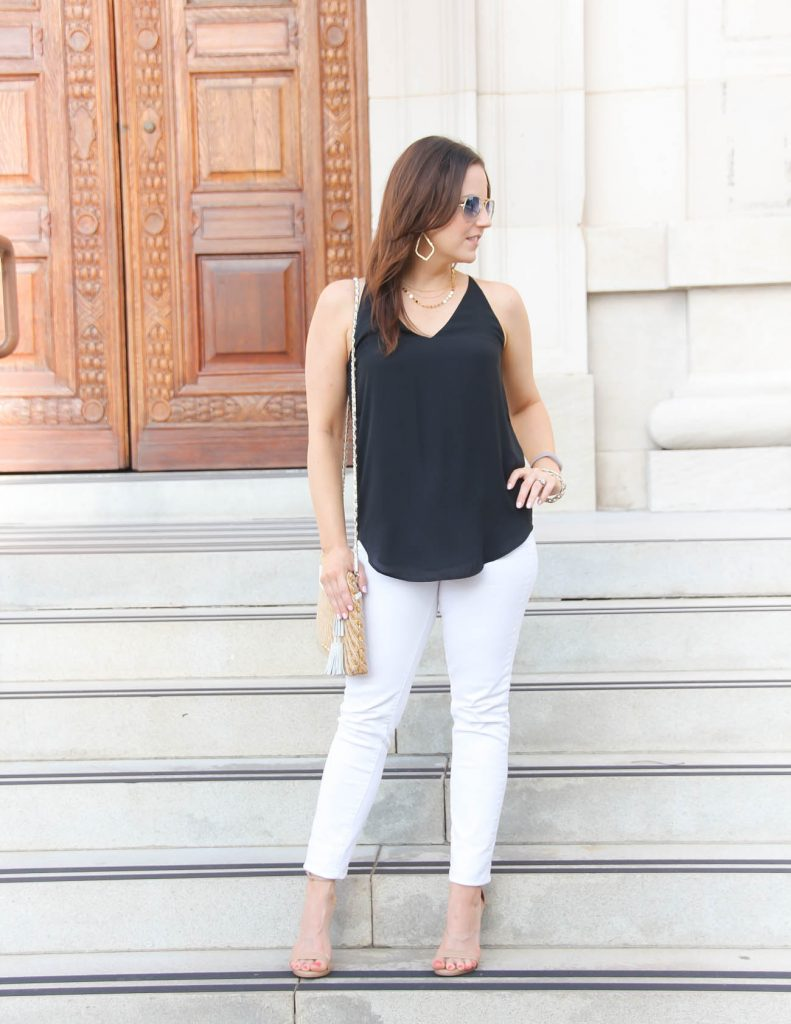 Vacation Date Night Outfit | White Jeans | Nude Sandals | Lady in Violet | Houston Fashion Blogger