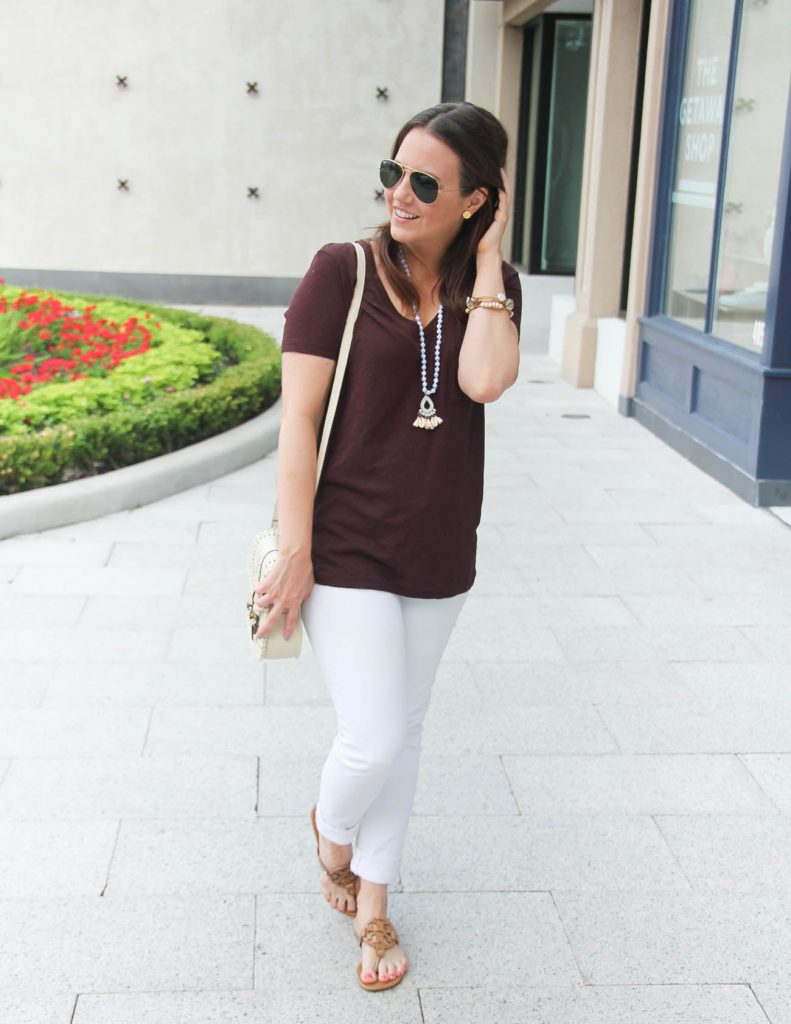Beach Vacation Outfit | Basic Tee | White Jeans | Sandals | Lady in Violet | Houston Fashion Blogger