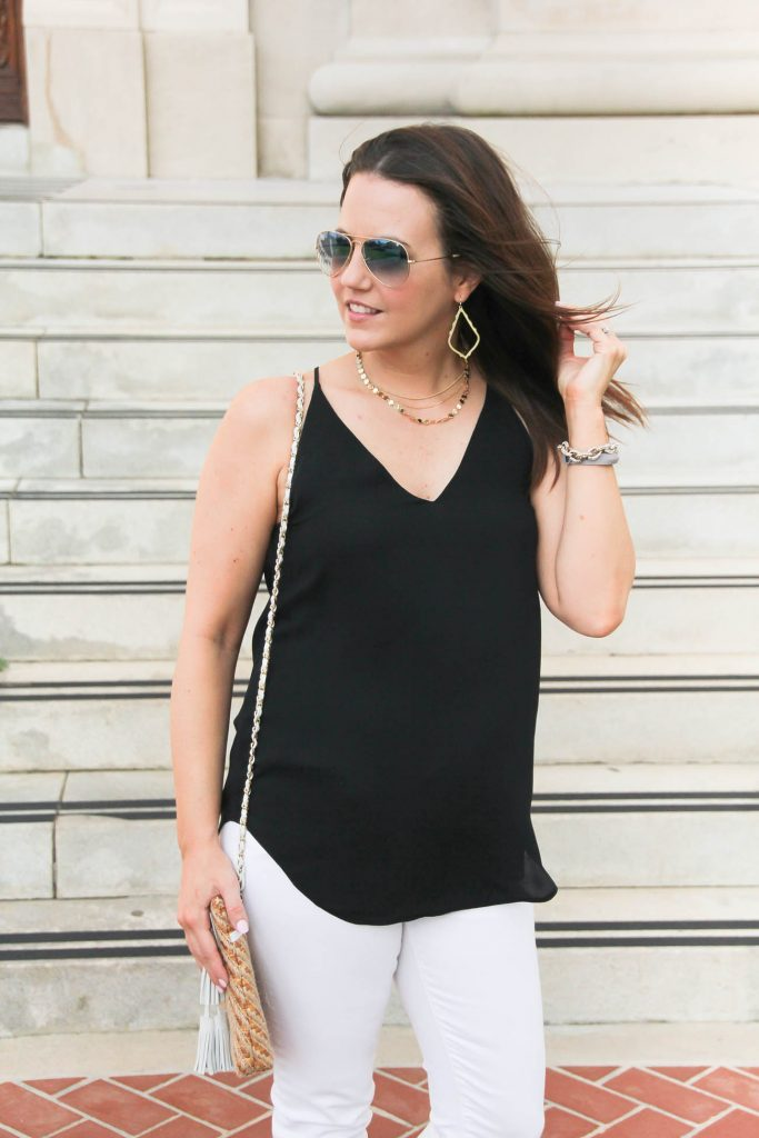 Black Strappy Cami | Gold Choker Necklace | Summer Outfit | Lady in Violet | Houston Fashion Blogger