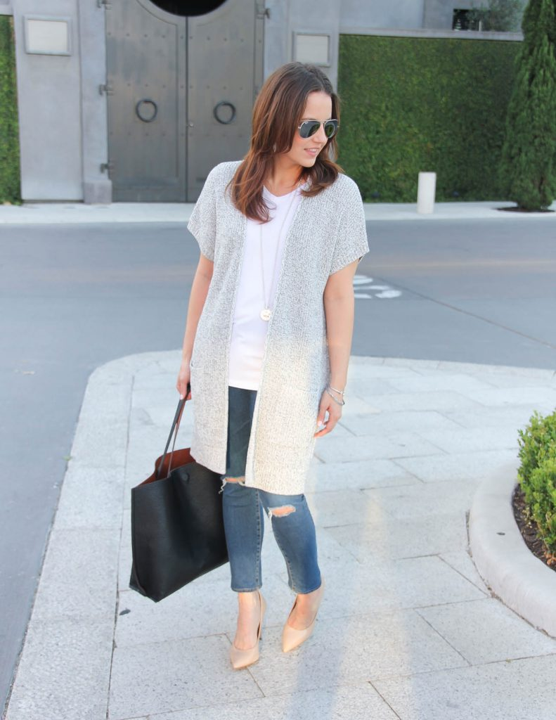 Casual Weekend Outfit | Long Gray Cardigan | Plain White Tee | Lady in Violet | Houston Fashion Blogger