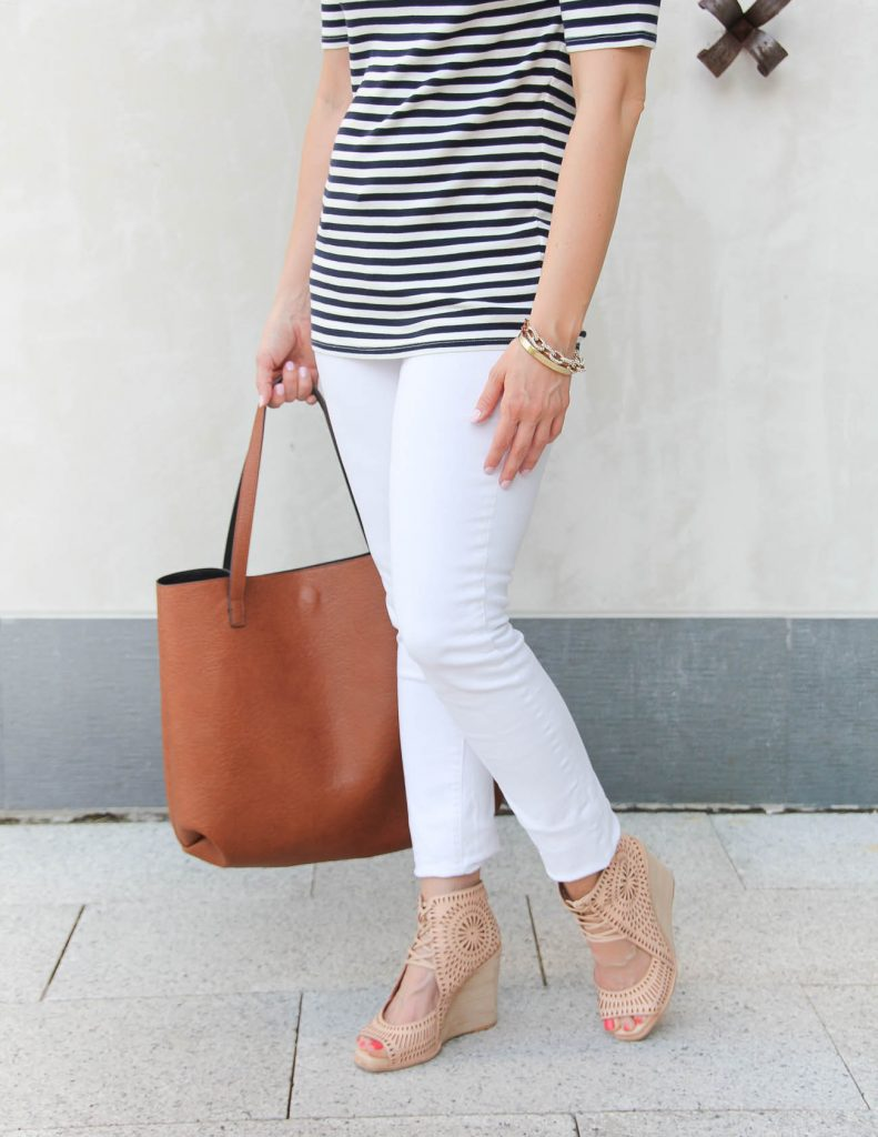 Spring Outfit | Paige Denim white skinny jeans | Jeffrey Campbell Wedges | Lady in Violet | Houston Style Blogger