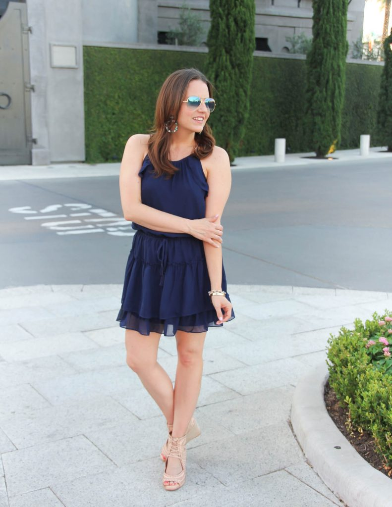 What to wear for Summer Party | Navy Dress | Wedge Sandals | Lady in Violet | Houston Style Blogger