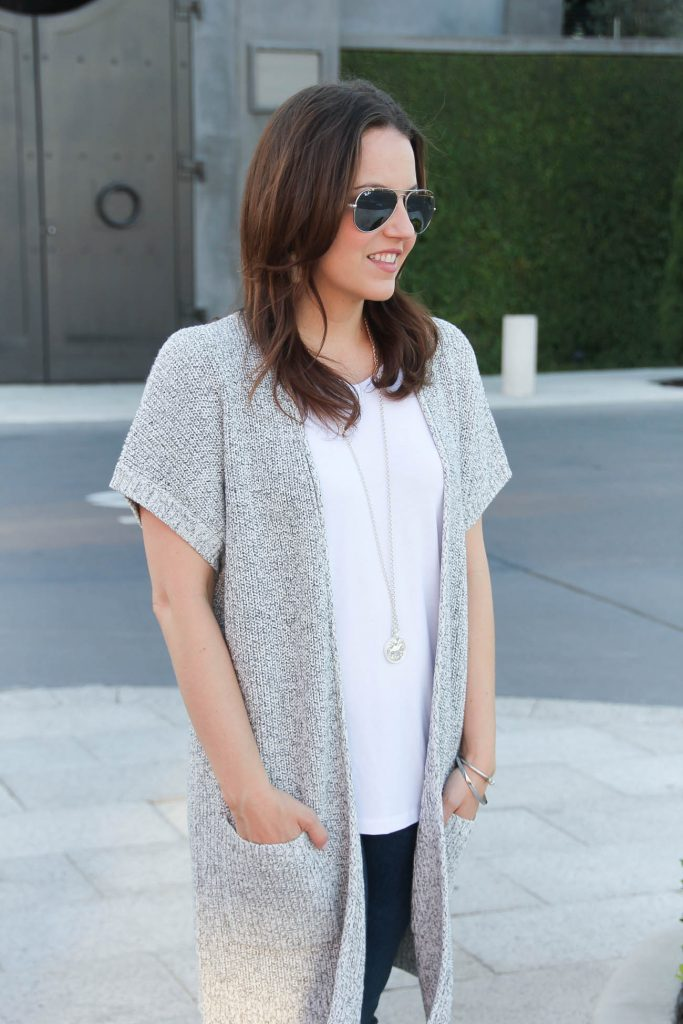 Spring Outfit | White Tee | Gray Duster Cardigan | Lady in Violet | Houston Style Blogger