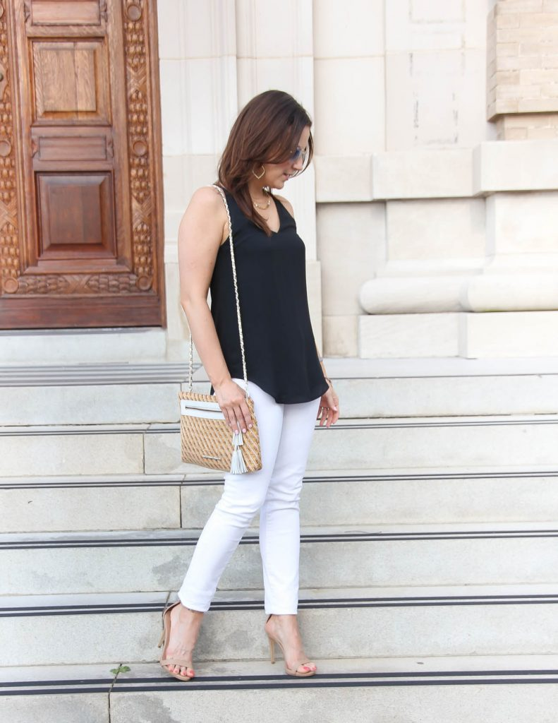 Summer Date Night Outfit | White Jeans | Straw Clutch | Lady in Violet | Houston Fashion Blogger