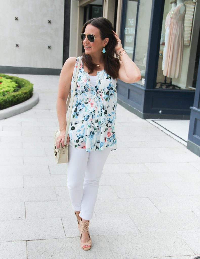Summer Outfit | Alternative all white outfit | Floral print blouse | Lady in Violet | Houston Fashion Blogger