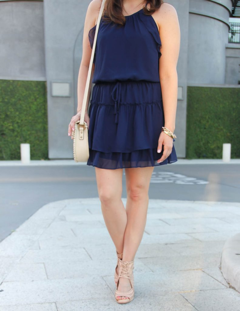 Summer Outfit | Navy Dress | Nude Wedge Sandals | Lady in Violet | Houston Fashion Blogger