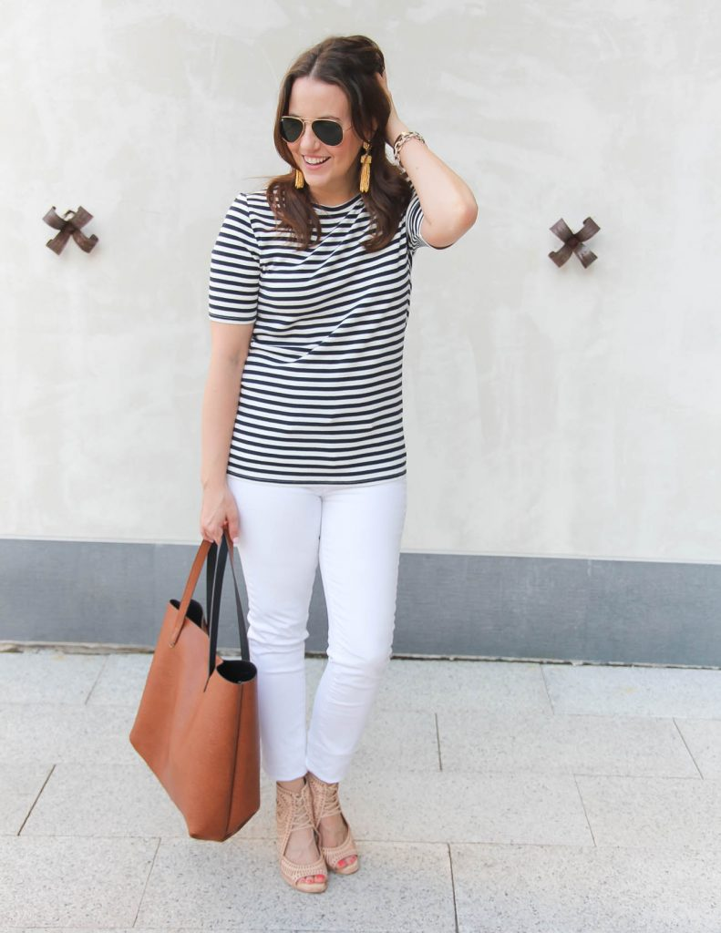 What to wear for the 4th of July | Navy Striped Tee | White Jeans | Lady in Violet | Houston Fashion Blogger