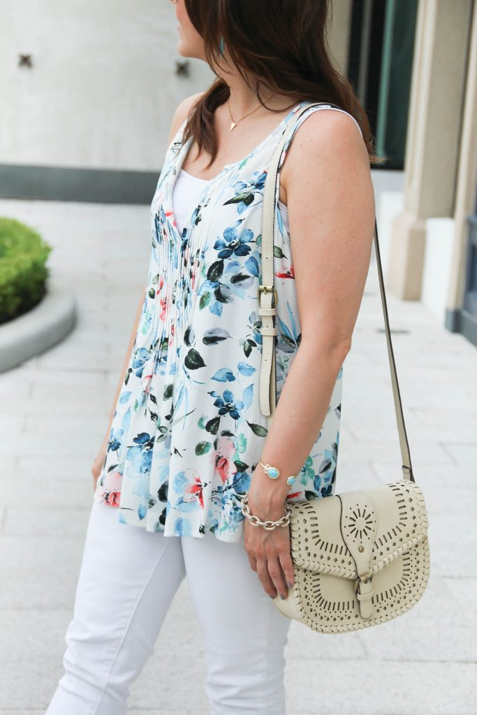 Feminine Floral Print Blouse for Summer | Sole Society Kianna Bag | Lady in Violet | Houston Fashion Blogger