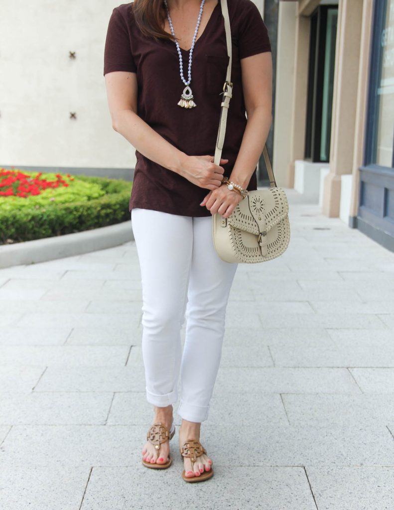 Summer Beach Vacation Outfit with Tshirt | White Skinny Jeans | Tory Burch Miller Sandals | Lady in Violet | Houston Fashion Blogger